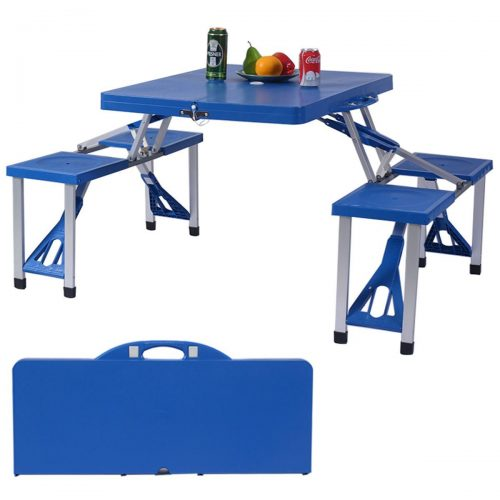 Online Gym Shop CB17063 Outdoor Foldable Portable Aluminum Camping Plastic Picnic Table with Bench & 4 Seats
