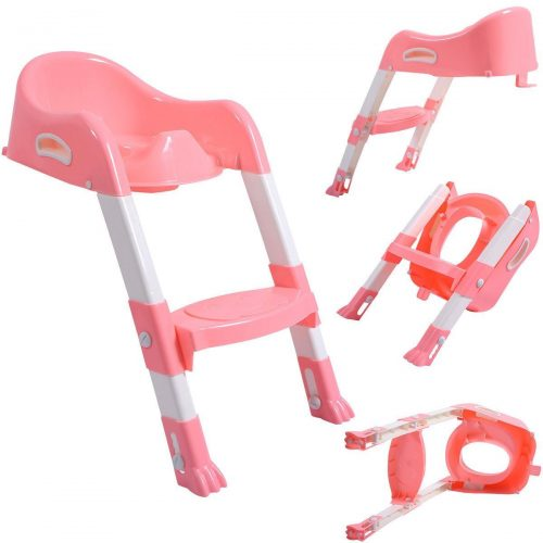 Online Gym Shop CB17183 Toilet Potty Trainer Seat Chair with Ladder Step Up Stool for Toddler Pink