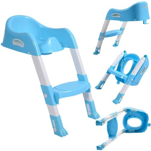 Online Gym Shop CB17184 Toilet Potty Trainer Seat Chair with Ladder Step Up Stool for Toddler Blue