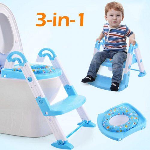 Online Gym Shop CB17186 Kids 3 in 1 Toilet Potty Training Chair Seat Step Ladder Blue