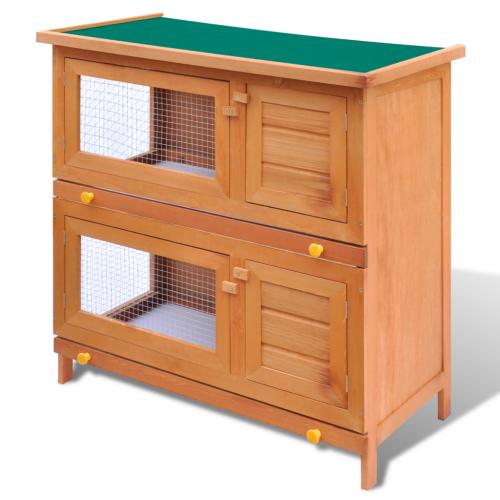 Online Gym Shop CB17592 Outdoor Wooden Chicken Coop Rabbit Hutch Small Animal House Pet Cage 4 Doors - 36 in.