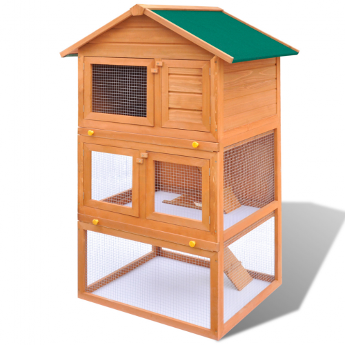 Online Gym Shop CB17594 Outdoor Wooden Chicken Coop Rabbit Hutch Small Animal House Pet Cage 3 Layers - 32 in.