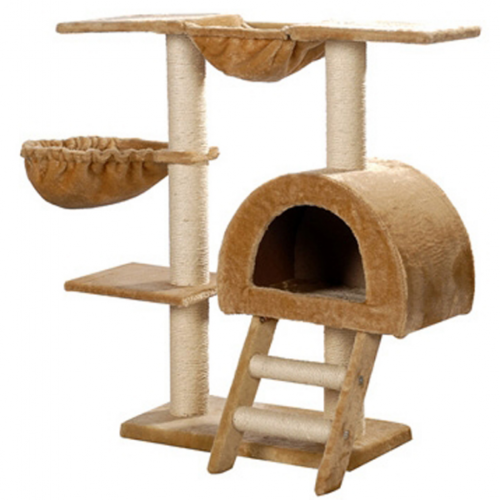 Online Gym Shop CB17627 Cat Tree Plush Beige - 41 in.