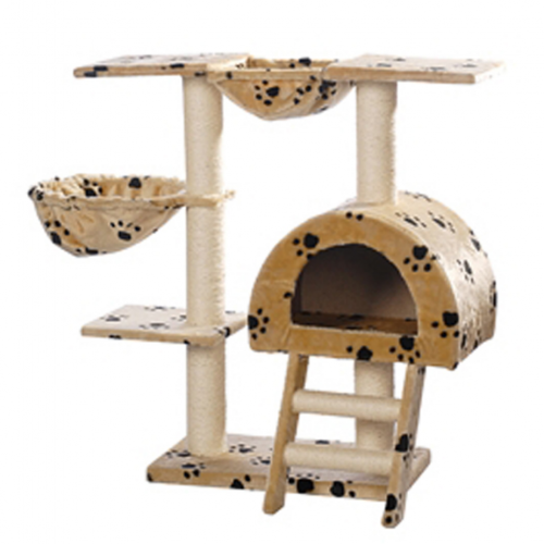 Online Gym Shop CB17628 Cat Tree with Paw Prints Plush Beige - 41 in.