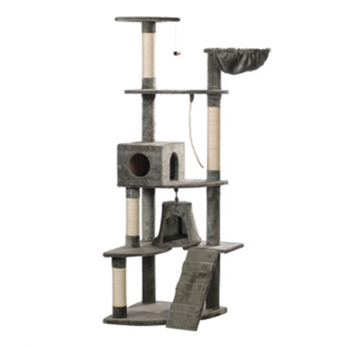 Online Gym Shop CB17630 Cat Tree Plush Gray - 75 in.