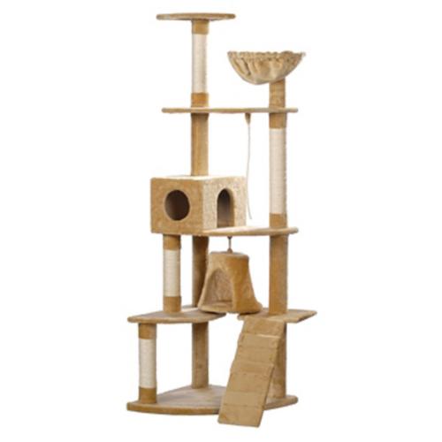 Online Gym Shop CB17632 Cat Tree Plush Beige - 75 in.