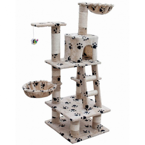 Online Gym Shop CB17648 Cat Tree with Paw Prints Plush Beige - 48 in.