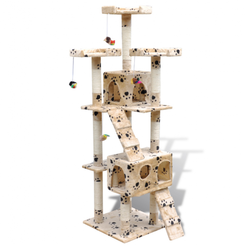 Online Gym Shop CB17658 Cat Tree Scratching Post 2 Condos with Paw Prints Beige - 67 in.