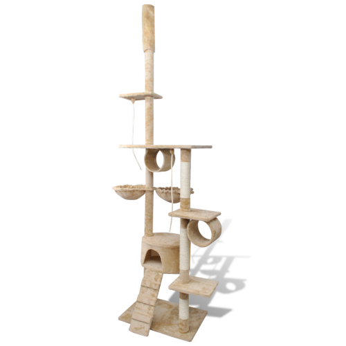 Online Gym Shop CB17662 Cat Tree Scratching Post 1 Condo Beige - 87 - 94 in.