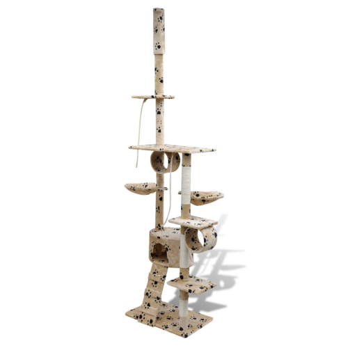 Online Gym Shop CB17663 Cat Tree Scratching Post 1 Condo with Paw Prints Beige - 87 - 94 in.