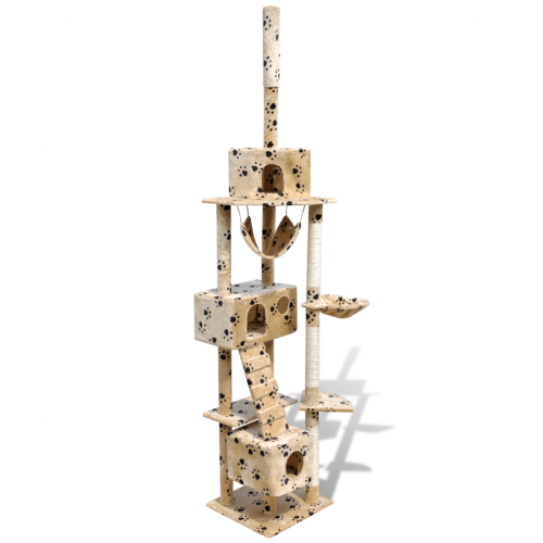 Online Gym Shop CB17668 Cat Tree Scratching Post 3 Condos with Paw Prints Beige - 87 - 94 in.