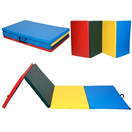OnlineGymShop CB15394 4 x 10 ft. x 2 in. Gymnastics Tumbling & Martial Arts Folding Mat, Multi Color