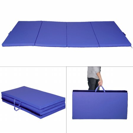 OnlineGymShop CB16217 4 x 8 x 2 in. Gymnastics Tumbling & Martial Arts Folding Mat PU Leather, Blue