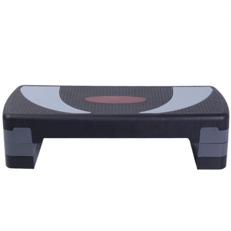 OnlineGymShop CB16417 30 in. Fitness Aerobic Step Exercise Stepper Platform with Adjust 4-6-8 in. Riser Black & Gray Red Signal