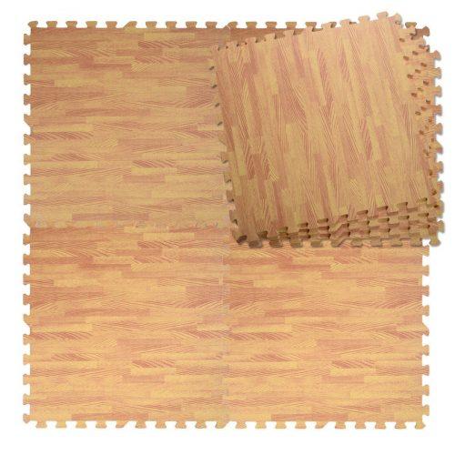 OnlineGymShop CB17249 48 Sq. ft. EVA Wood Color Interlocking Foam Flooring Tiles Mats