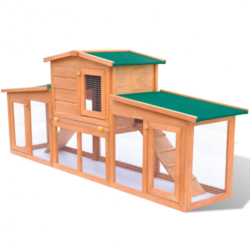 OnlineGymShop CB17596 75 in. Chicken Coop Small Animal House Large Rabbit Hutch Pet Cage with 2 Runs - Wood