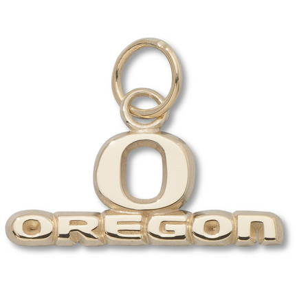 "Oregon Ducks ""O Oregon"" 5/16"" Charm - 14KT Gold Jewelry"