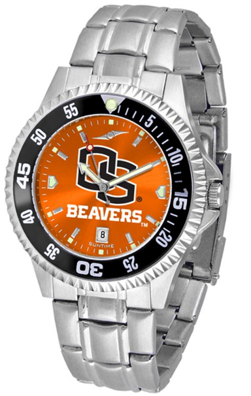 Oregon State Beavers Competitor AnoChrome Men's Watch with Steel Band and Colored Bezel
