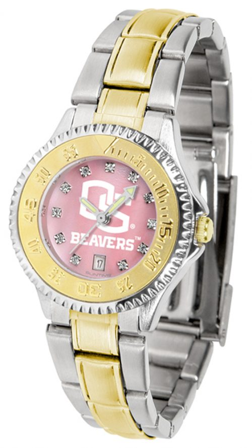 Oregon State Beavers Competitor Ladies Watch with Mother of Pearl Dial and Two-Tone Band