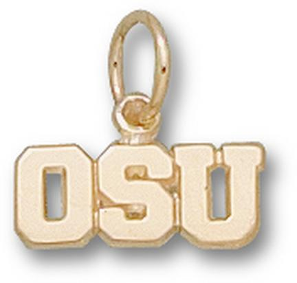 "Oregon State Beavers ""OSU"" 3/16"" Charm - 14KT Gold Jewelry"