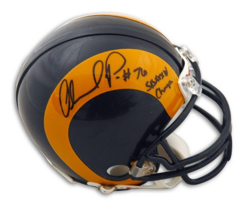"Orlando Pace St. Louis Rams Autographed Mini Football Helmet Inscribed ""SBXXXIV Champs"