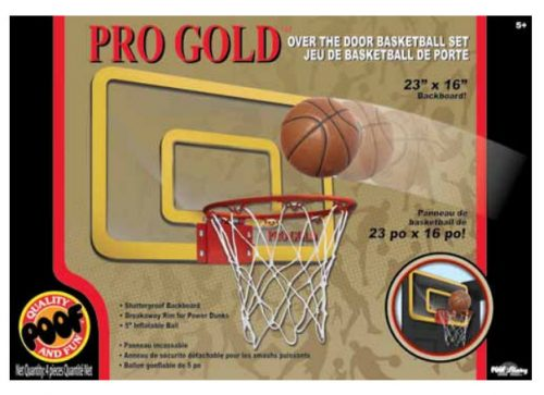 POOF-Slinky 464BL POOF Pro Gold Over The Door 23-Inch Breakaway Rim Basketball Hoop Set with Clear Shatterproof Backboard and 5-Inch Inflatable Ball
