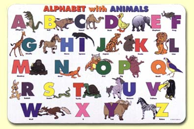 Painless Learning ABC-1 Alphabet With Animals Placemat