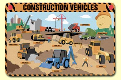 Painless Learning CNS-1 Construction Vehicles Placemat