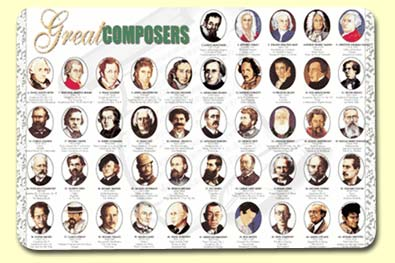 Painless Learning COM-1 Great Composers Placemat