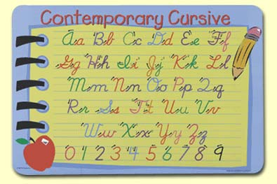 Painless Learning CON-1 Contemporary Cursive Placemat
