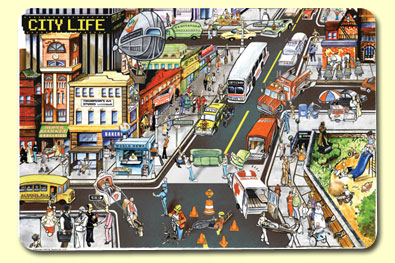 Painless Learning CTY-1 City Life Placemat