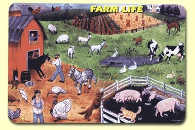 Painless Learning FAN-1 Farm Life Placemat