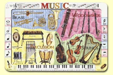 Painless Learning MUS-1 Musical Instruments Placemat