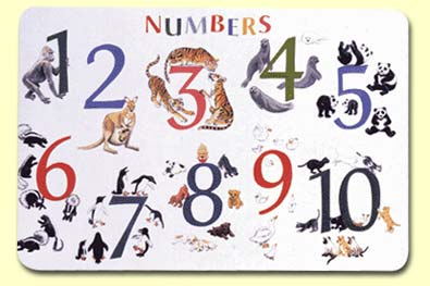 Painless Learning NUM-1 Numbers With Animals Placemat