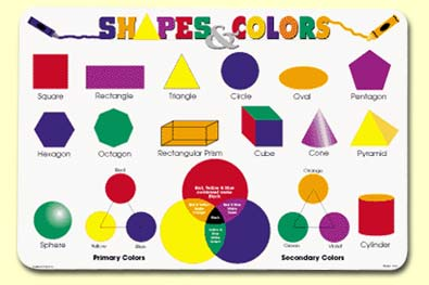 Painless Learning SHA-1 Shapes & Colors Placemat