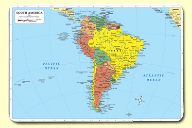 Painless Learning SOU-1 South America Placemat