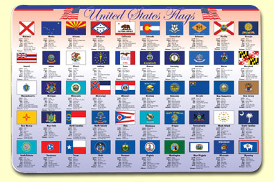 Painless Learning STF-1 State Flags Placemat