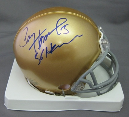 Paul Hornung Notre Dame Fighting Irish NCAA Autographed Mini Football Helmet with 56 Heisman Inscription
