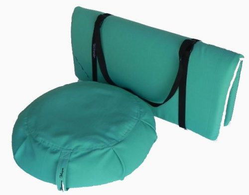 Peach Blossom Yoga 11003 3 Pieces Yoga Studio Set -Zafu Zabuton Set With Strap Teal