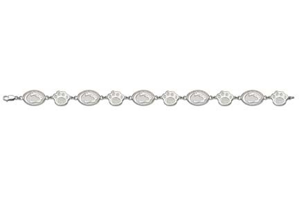 "Penn State Nittany Lions 7.5"" Head / Paw Bracelet - Sterling Silver Jewelry"