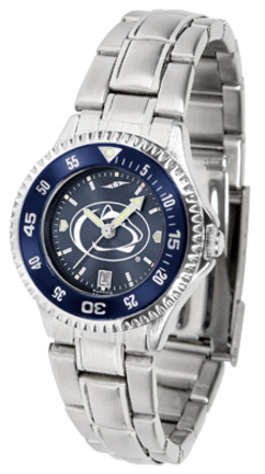 Penn State Nittany Lions Competitor AnoChrome Ladies Watch with Steel Band and Colored Bezel