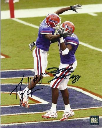 """Percy Harvin and Dallas Baker 2006 Florida Gators National Championship and Dallas Baker Dual Autographed 8"""" x 10"""" Photograph (Unframed)"""
