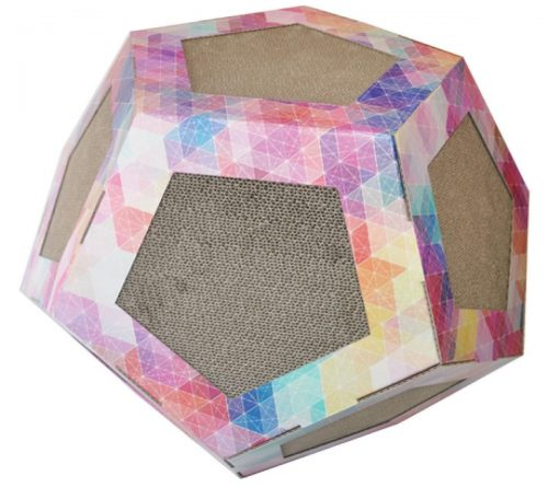 Pet Life CTS2RB Octagon Pet Cat Scratcher Toy & House Pink Pattern - One Size