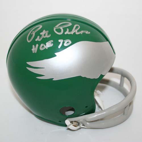 """Pete Pihos Autographed Philadelphia Eagles Riddell Throwback Mini Helmet with """"HOF 70"""" Inscription"""
