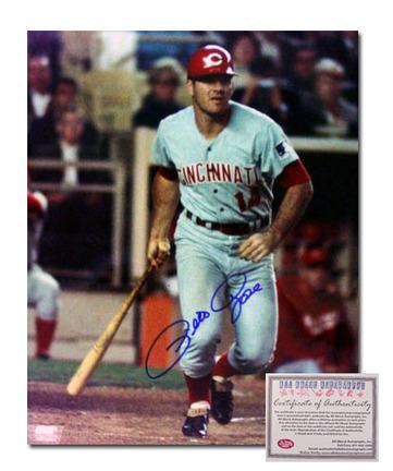 "Pete Rose Cincinnati Reds Autographed 16"" x 20"" Batting Photograph (Unframed)"