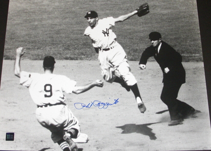 """Phil Rizzuto Autographed New York Yankees 16"""" x 20"""" Action Photograph (Unframed)"""