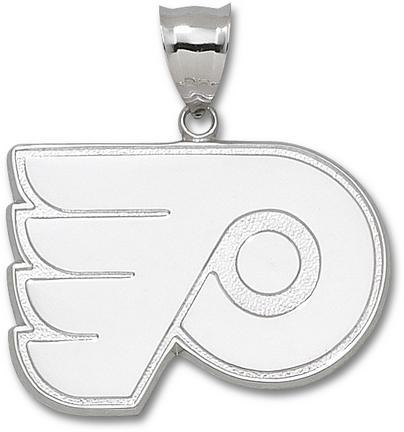 "Philadelphia Flyers Giant 1 7/8"" W x 1 1/4"" H ""P Logo"" Pendant - Sterling Silver Jewelry"