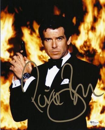 "Pierce Brosnan Autographed ""James Bond"" 8"" x 10"" Photograph with fire (Unframed)"
