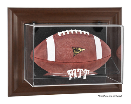 Pittsburgh Panthers Brown Framed Wall Mountable Logo Football Display Case
