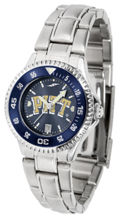 Pittsburgh Panthers Competitor AnoChrome Ladies Watch with Steel Band and Colored Bezel